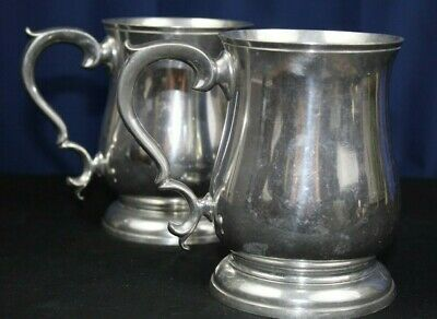 "Williamsburg By Kirk Stieff Set Of (2) Pewter Tankards Cw55-5 4 7/8"" Tall"