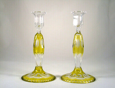 Antique Lime Green Chartreuse Cut to Clear Crystal Candlesticks Belgium