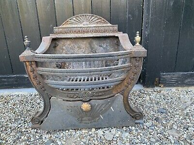 Reclaimed Cast Iron Fire Grate, Basket & Front