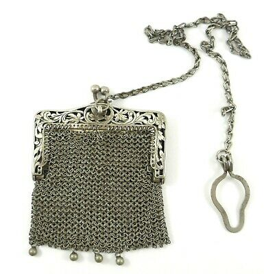 Little Antique 800 Silver Mesh Purse with Chain 59g