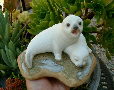 """Vintage, very cute """"Harp Seal Pups"""" figurine #81 by Bill Kazmar...excl condition"""