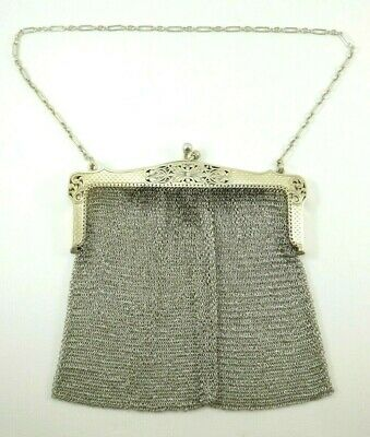 Nice Antique Sterling Silver Mesh Purse with Chain 200 g
