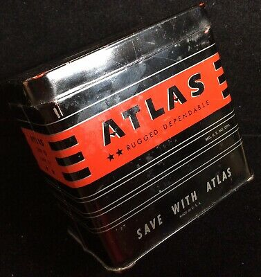 1950'S Vintage Atlas Battery Tin Coin Bank Advertising Nice Litho Graphics