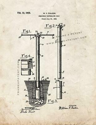 Removable Clothesline Pole Patent Print Old Look