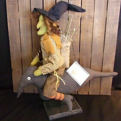 Primitive art doll,21 in,handmade,Halloween witch & crow,  by Dumplinragamuffin