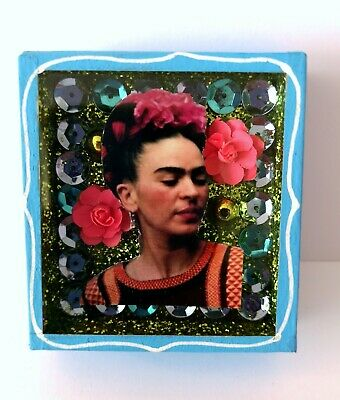 Mexican Folk Art Small Frida Kahlo Diorama Box Gorgeous & Glittery Art Icons #1