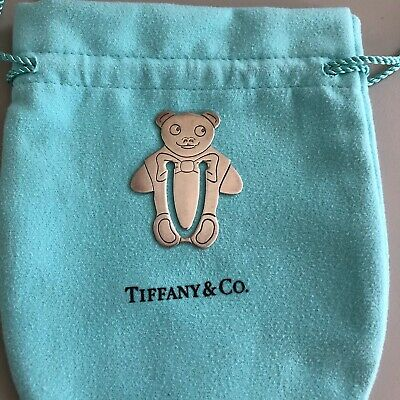 Vintage Tiffany & Co. Sterling Silver Marked Etched TEDDY BEAR Bookmark 1984