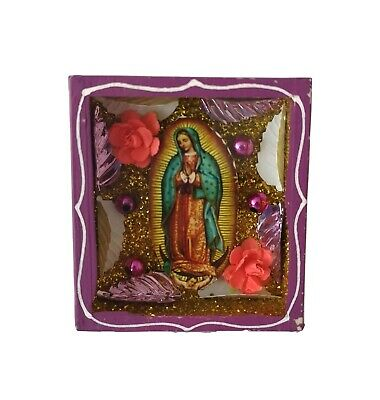 Mexican Folk Art Small Virgin of Guadalupe Diorama Box Gorgeous & Glittery #1