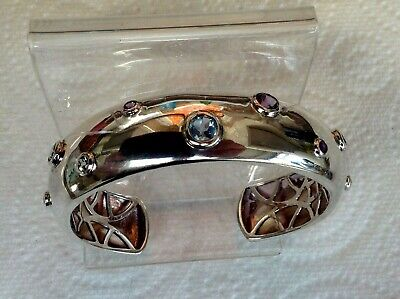 Quality Retro Sterling Silver 925 Stamped Heavy Cuff Bracelet with Hardstones