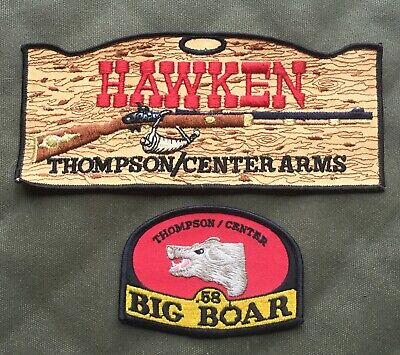 Thompson Center Hawken Jacket patch and a Big Boar .58 patch