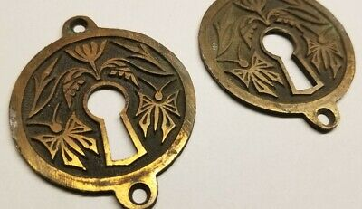 2 Matching Antique Vintage VICTORIAN Brass ? Keyhole Cover Plates - Butterfly