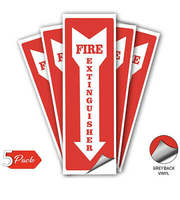 Fire Extinguisher Decal, Self Adhesive Emergency, Waterproof, Pack Of 5, 4x12