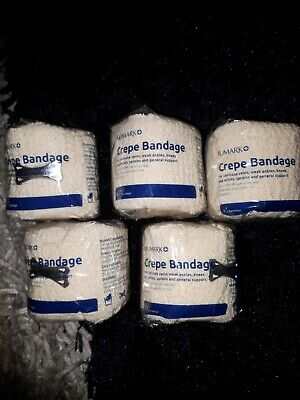 5 X Crepe Bandages 5cm X 4.5 Metres Brand New In Packaging
