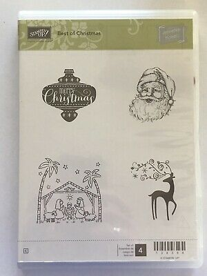"Stampin Up! ""Best Of Christmas"" Set Of 4. Santa, Reindeer, Manger"