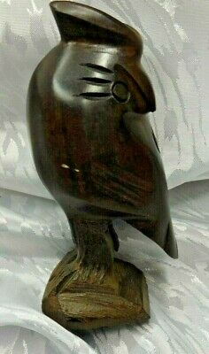 """Vintage Iron Wood Owl Carving - 4 1/4"""" tall"""