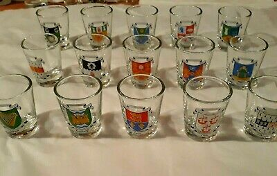 15 Vtg New  Ireland Cities Coat Of Arms Shot Glasses-- Collector Unused