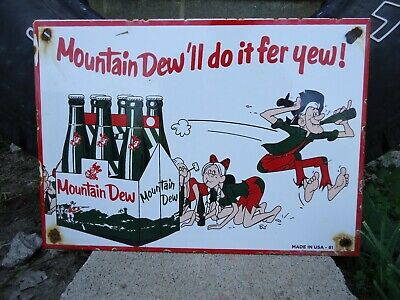 Old Vintage 1961 Mountain Dew Soda Porcelain Sign Hillbilly Beverage