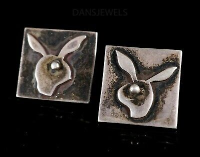 """Old Pawn Vintage 1960's MODERNIST """"PLAYBOY BUNNY"""" STERLING Silver Cuff Links"""