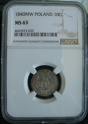 1840 MW Poland / Russia Silver 10 Groszy NGC MS-63