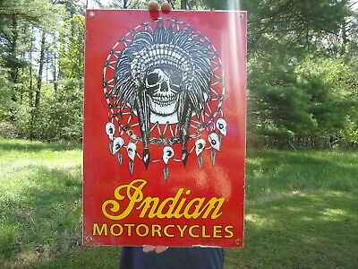 Large Old 1950'S Indian Motorcycle Porcelain Advertising Sign Road Bike Chief