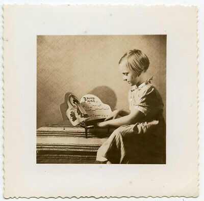 Little Girl Playing 3 Blind Mice On Tiny Toy Piano Music Vintage Snapshot Photo