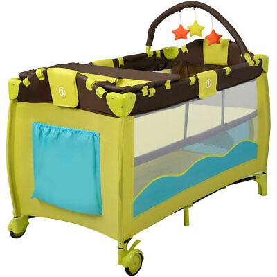 Folding Baby Crib Mobile Infant Nursery Bed Bassinet Cradle Playpen Play Yard