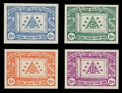 1954 Asda Stamp Show Poster Stamps, Imperforate - Set Of 4