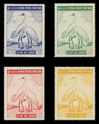 1957 Asda Stamp Show Poster Stamps, Perforated - Set Of 4