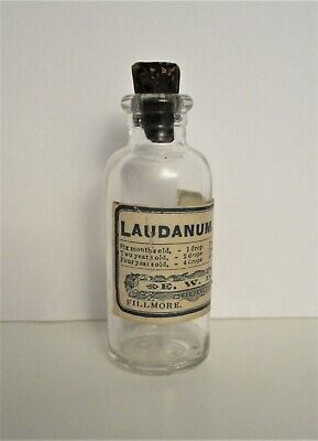 "Vintage ~LAUDANUM~ Opium Medicine Bottle with Label & Original Cork 3"" x 1-1/8"""