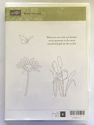 "Stampin' Up! ""Every Moment"" Set Of 4 Retired Butterfly, Bird, Cattails,"