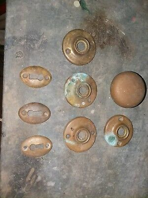 Antique Brass Door Key Hole Cover Plate &Knob Escutcheons Knob Vintage Lot