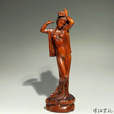 Collectable Old Boxwood Hand-Carved Buddhism Kwan-Yin Bodhisattva Decor Statue