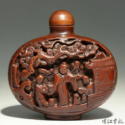 Collect China Old Boxwood Hand-Carved Figure & Landscape Precious Snuff Bottle