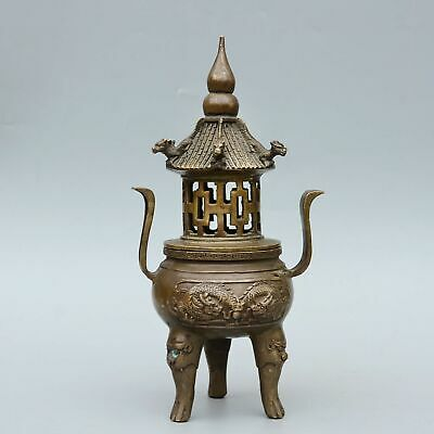 Collect China Old Bronze Hand-Carved Myth Dragon Moral Auspicious Incense Burner