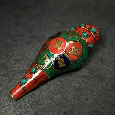 Collectable China Old Bronze Inlay Red Turquoise Carve Seashell Unique Statue