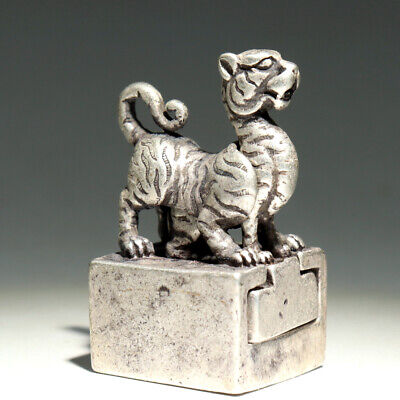 Collect Old Miao Silver Hand-Carved Myth Tiger Delicate Double-Deck Seal Statue