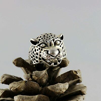 China Culture Old Tibet Silver Hand Carve Shirty Leopard Head Unique Decor Ring