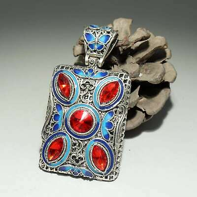 Collectable China Old Cloisonne Hand-Carved Butterfly Delicate Decorate Pendant