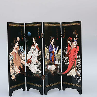 Collectable Woodware Hand-Made China Ancient Four Beauties Noble Screen Statue