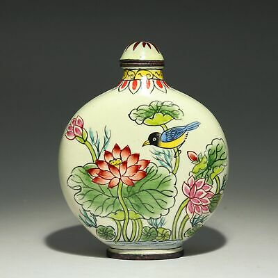 Collectable China Old Cloisonne Hand-Carved Bloomy Lotus Auspicious Snuff Bottle