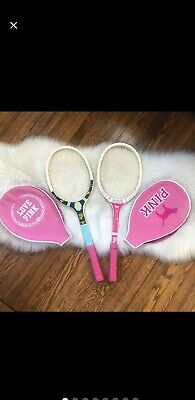 Rare Victoria's Secret Pink Display Prop Tennis Rackets With Covers