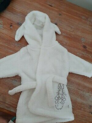 Unisex baby Peter Rabbit white dressing gown with ears on the hood 1-3 Months