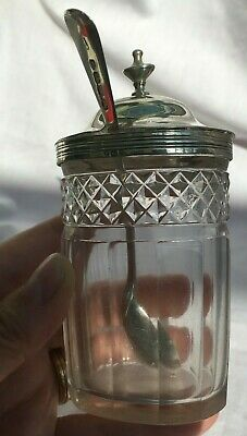 1830 Georgian Antique Solid Sterling Silver Cut Crystal Condiment & Gilt Spoon