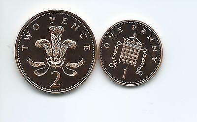 1995 Royal Mint Proof  2p  +  1p  coins  taken from Royal Mint proof Set