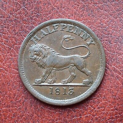 Essex lion 1813 copper halfpenny token