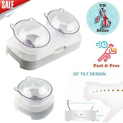 Pet Food Bowl Stand Cat Dog Single/Dual Water Feeding Bowl Raised Elevated Angle