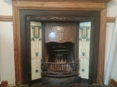 Cast Iron Tiled Fire Surround and Wooden Mantlepiece
