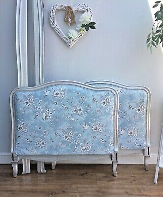 French Single Bed - Day Bed - New Fabric - Silver Finish - With Slats