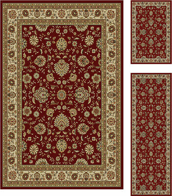 3 Piece Set Combo Floral Persien Red Border Area Rug