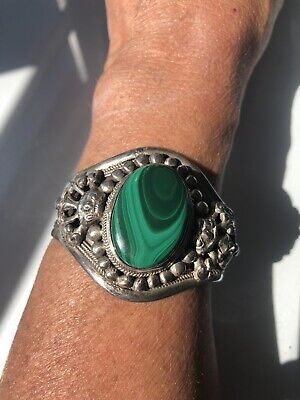 Large Silver Cuff Bangle Bracelet Green Stone